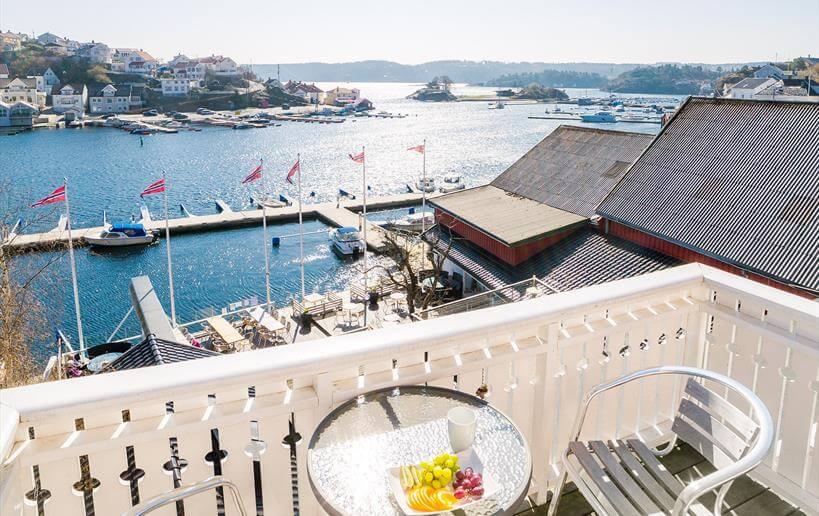 Victoria Hotel Kragerø balkon met uitzicht